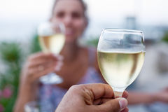 Toast for two to the sea. Royalty Free Stock Images