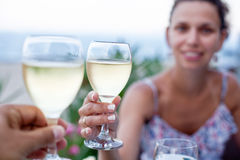 Toast for two to the sea. Stock Images
