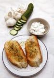 Toast and tzatziki royalty free stock image