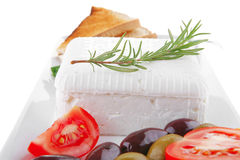 Toast and vegetables with feta cube Stock Images