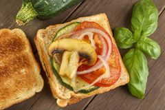 Toast with vegetables Stock Photo