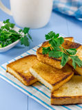 Toast with verdure. Breakfast toast with verdure and cup of coffee Stock Image