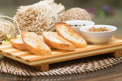 Toast, white bread with sauce on the board. Snack Stock Photography