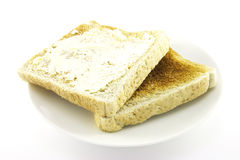 Toast on a White Plate Royalty Free Stock Photos