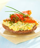 Toast With Scrambled Eggs,salmon And Chives Stock Photography