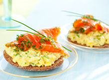 Toast With Scrambled Eggs,salmon And Chives Royalty Free Stock Images