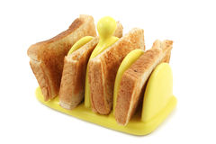 Toast in Yellow Ceramic Toast Rack Royalty Free Stock Photos