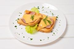 toasted сэндвич с ветчиной сыра Стоковые Фото