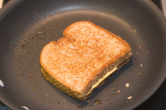 Toasted. A grilled cheese in the pan Royalty Free Stock Image