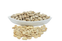 Toasted almonds. With shell in artisan wood-fired oven royalty free stock photo