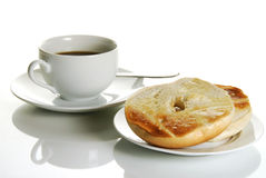 Toasted bagel and coffee Royalty Free Stock Photography