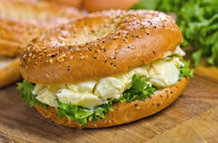 Toasted Bagel with Egg Salad. A toasted poppyseed and sesame seed bagel with egg salad Stock Image