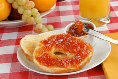 Toasted bagel with jam Royalty Free Stock Photo