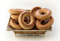 The toasted bagels in a wicker basket Stock Photo