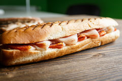 Toasted baguette sandwich with ham Royalty Free Stock Image