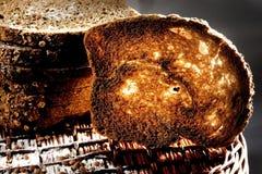 Toasted bread. On basket, nice light stock photos