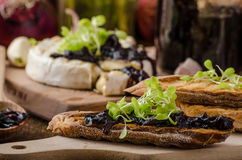 Toasted bread with brie cheese and caramelized onions Royalty Free Stock Image