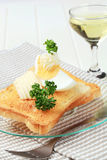 Toasted bread with butter and boiled egg Royalty Free Stock Photos