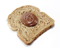 Toasted bread with chocolate Stock Images