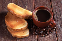 Toasted bread and coffee Stock Photography