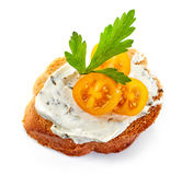 Toasted bread with cream cheese royalty free stock photos