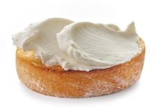 Toasted bread with cream cheese stock image