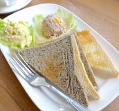 Toasted bread with egg salad closeup royalty free stock images