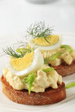 Toasted bread and egg spread Stock Photos