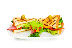 Toasted bread with filling isolated Royalty Free Stock Photo