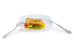 Toasted bread with filling isolated Stock Photo