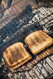 Toasted bread on the grill Royalty Free Stock Photos