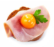 Toasted bread with ham and tomato Royalty Free Stock Photos