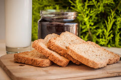 Toasted bread with honey and honey dipper Stock Images