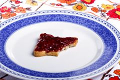 Toasted bread with jam Royalty Free Stock Images