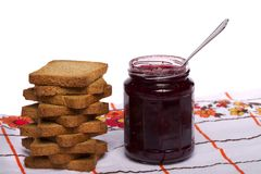 Toasted bread with jam Stock Images