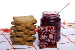 Toasted bread with jam Stock Photography
