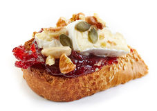 Toasted bread with jam and brie cheese Royalty Free Stock Image