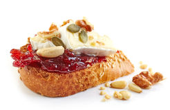 Toasted bread with jam and brie Royalty Free Stock Photography