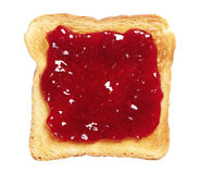 Toasted bread with jam. Isolated on white background stock photography