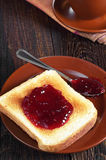 Toasted bread with jam Royalty Free Stock Photos
