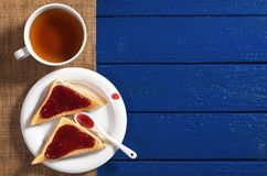 Toasted bread with jam and tea Stock Image