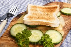 Toasted bread with melted irish mild cheddar and cucumber slices Royalty Free Stock Photography
