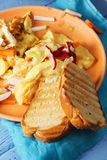 Toasted bread with omelet closeup Royalty Free Stock Photos