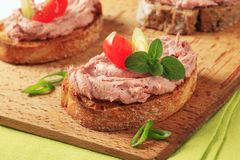 Toasted bread and pate royalty free stock images