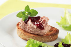 Toasted bread with pate. And cranberry sauce Royalty Free Stock Photography