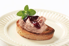 Toasted bread with pate Stock Photo