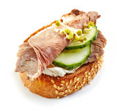 Toasted bread with roast beef and cucumber Stock Photography