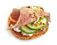 Toasted bread with roast beef and cucumber Royalty Free Stock Photo