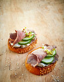 Toasted bread with roast beef and cucumber Stock Image
