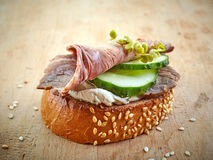 Toasted bread with roast beef Stock Image